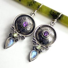 Moonstone Sterling Silver Earrings with by ElementalJewelryCo