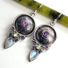Moonstone Sterling Silver Earrings with by ElementalJewelryCo