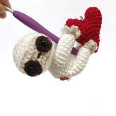 Valentine Sloth Crochet Bag Charm Amigurumi Sloth Doll Crochet