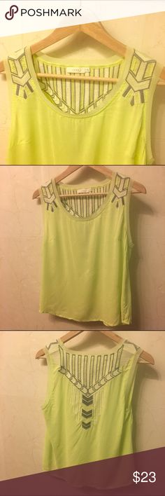 Beautifully, Embroidered, Box Blouse/ Tank by LUSH LUSH embroidered box blouse/ tank from Nordstrom. Light, lime green color. Wore twice and received several compliments. Lush Tops