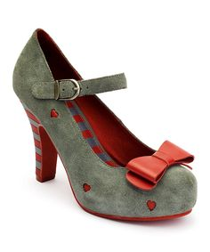 Another great find on #zulily! Gray & Red Angie Suede Mary Jane Pump by Lola Ramona #zulilyfinds