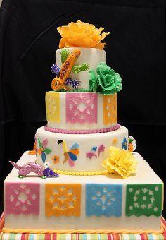 papel picado cake with alebrijes