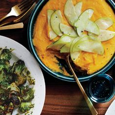 Butternut Squash Polenta With Shaved Apple Impress guests with this inventive redesign of the classic.