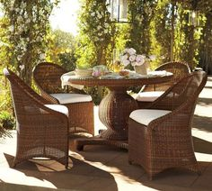 Palmetto All-Weather Wicker Round Pedestal Dining Table & Set, Honey Uploaded by Melissa de la FuenteIt wouldn't be February if you weren't dreaming of the coming spring right around the corner. So, what better way is there to daydream than thinking about a lovely new set of wicker for the porch? Gathering outside in the spring and summer is one of my favorite things to do.
