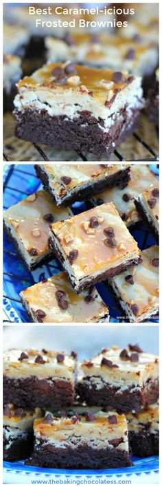 Best Caramel-icious Frosted Brownies (GF Option) Easy Desserts, Delicious Desserts, Dessert Recipes, Yummy Food, Dessert Bars, Yummy Yummy, Delish, Frosted Brownies, Planning Menu