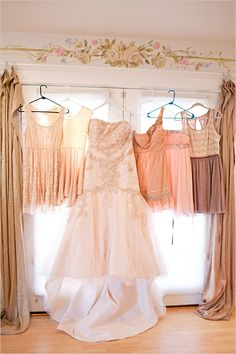 pretty peach bridesmaid dresses - I Ike how they are all different , that's exactly what I want to do
