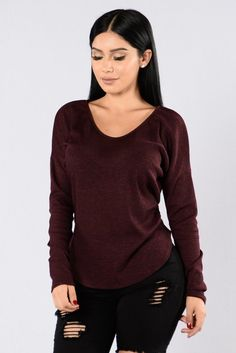 - Available in Black and Burgundy - Scoop Neck - Long Sleeve - 55% Rayon, 40% Polyester, 5% Spandex