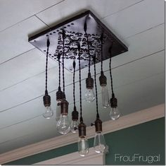 Classy of Hanging Bulb Chandelier Hanging Edison Bulb Chandelier Home Design Ideas - As far as residence decoration goes, light fixtures are among one of t Edison Bulb Chandelier, Edison Lampe, Diy Chandelier, Edison Bulbs, Chandeliers, Kitchen Chandelier, Diy Kitchen Lighting, Bar Lighting, Pendant Lighting