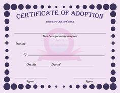 fake adoption certificate Birth certificate template