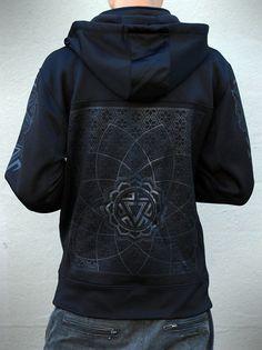 Men's Black on Black Hoodie - Water Resistant Zip up Jacket - VITALITY - Sacred Geometry Clothing
