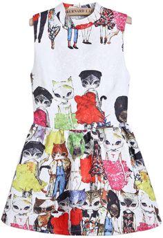 White Sleeveless Cats Print Slim Dress - Sheinside.com