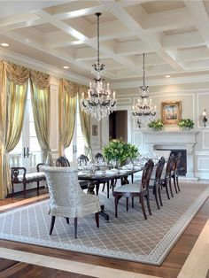 Smitten with elegance...coffered ceiling, terrific dining room details.
