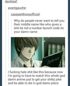I don't watch it but I get it hahaha <- I've used my middle name as a nuclear launch code.
