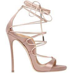 Dsquared2 Women 120mm Riri Lace-up Satin Sandals found on Polyvore featuring shoes, sandals, heels, salto, sapato, nude, lace up shoes, wrap sandals, wrap around sandals and lace up high heel sandals