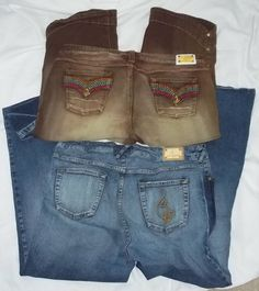 Baby Phat Lot of 2 Multi Color 1 Capri 1 Bootcut Blue Jeans Size: 20 #BabyPhat #CapriCropped