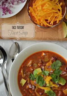 My favorite Taco Soup recipe. It's quick to throw together and packed with flavor and vegetables! mountainmamacooks.com #TacoTuesday