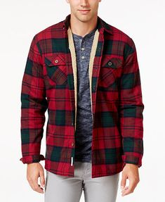 Weatherproof Vintage Men s Faux Fur-Lined Plaid Flannel Shirt Jacket,  Classic Fit Men - Coats   Jackets - Macy s e3ca4f5b45a5