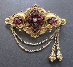 Vintage Georgian 14K Gold Rose Garnet Pearl Tassel Brooch Pin Antique Repousse