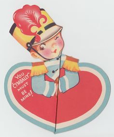 Vintage Greeting Card Valentine's Day Children Boy Marching Band Cymbals J590 | eBay