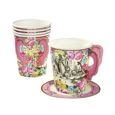 Alice in Wonderland Party Cups with Handle with floral design and an intricate Mad Hatters tea party illustration.