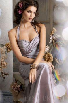 A Line Halter Floor Length Taffeta Long Bridesmaid Dress