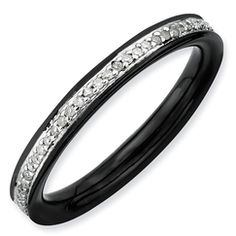 Black and silver stackable ring