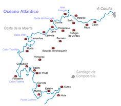 COSTA DE LA MUERTE - GUIA TURISTICA - FINISTERRE - FISTERRA - GALICIA - SPAIN Rv Travel, Travel Maps, Batanes, John Muir, Cabo, Spain, Places To Visit, Around The Worlds, Tours