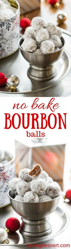 Bourbon Balls ~ an easy no-bake cookie that's been a family favorite for generations. Grab a bottle of your favorite bourbon or rum and mix up these delicious grownup holiday treat