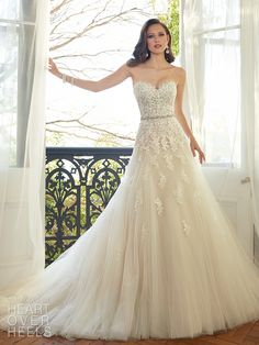 Sophia Tolli - – Prinia - Sweetheart tulle wedding gown with chapel train, this season, lace reveals its sexier side in Prinia. This A-line gown of misty tulle features layers of decadent hand-beaded lac 2015 Wedding Dresses, Tulle Wedding, Wedding Attire, Wedding Bells, Bridal Dresses, Wedding Gowns, Bridesmaid Dresses, Wedding Bride, 2017 Wedding