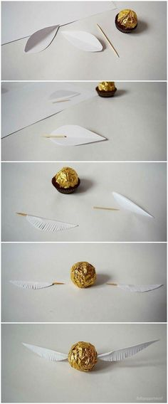 lottapeppermint: The Golden Snitch. A Harry Potter DIY made from Christmas chocolate.lottapeppermint: The Golden Snitch. A Harry Potter DIY made from Christmas chocolate.An adorable Dobby cardAn adorable Dobby card Baby Harry Potter, Harry Potter Baby Shower, Natal Do Harry Potter, Harry Potter Navidad, Harry Potter Motto Party, Harry Potter Weihnachten, Harry Potter Fiesta, Harry Potter Thema, Cumpleaños Harry Potter