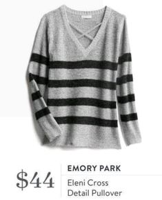 Emory Park - Eleni Cross Detail Pullover - Stitch Fix Winter Striped Sweater Fall Fashion Trends, Autumn Fashion, Fix Clothing, Clothing Styles, Clothing Ideas, Stitch Fix Fall, Stitch Fix Outfits, Cool Style, My Style
