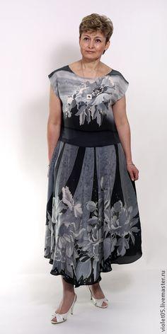 Шелковое платье Монохром- батик, шелк,ручная роспись - Батик,дизайнерская одежда