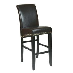 Metro Espresso Eco Leather 30-Inch Parsons Barstool with Nail Heads