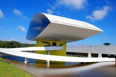 The Oscar Niemeyer Museum is located in the city of Curitiba, Paraná State, Brazil.  The complex of two buildings, installed in an area of thirty-five thousand square meters (of which Nineteen thousand dedicated to exhibit area), is a true example of architecture allied with art.