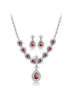 Rose Red Studded Charm Water Drop Zircon Jewelry Set, Red, Jewelora | VIPme