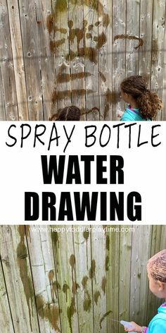 Spray Bottle Water Painting is a fun and super easy outdoor activity for kids! It's simple to set up and clean up but a great way to get creative outside without the mess!