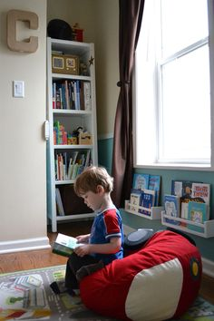 Under the window book shelves ... love this idea for using space.