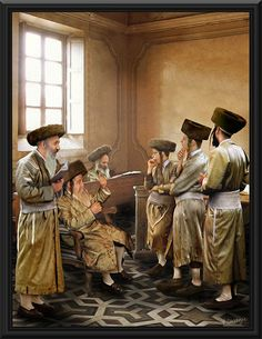 yeshiva painting - This Yeshiva Painting is an hand painted work of art made by Albert Benaroya. This painting portrays  Rabis during a prayer. This oil painting looks great in such a striking way, that it attracts people who sees it. It is painted in oil paints, and it is framed by a stunning black wood frame.