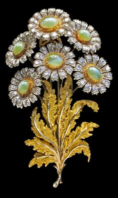 Exquisite Floral Brooch  18 K Gold, Chrysoberyl and Diamonds H: 6.1 cm (2.4 in)  W: 3.6 cm (1.42 in)  Mario Buccellati Italian, c.1960
