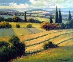 "GERHARD NESVADBA - Paintings""Rolling Hills"" by Gerhard Nesvadba 27x31 Oil On Canvas"