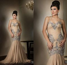 Wholesale Luxurious Crystal Beading Arabic Evening Prom Gowns Dresses Elegant Halter Sleeveless Mermaid Court Train Tulle Brides Mother Of The Dress