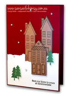 This is the simple version of Christmas card stamped using the Holiday Home stamp set from Stampin' Up!