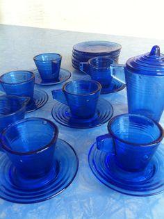 Akro Agate Colbalt Blue Childs Dish Set on Etsy, $129.00