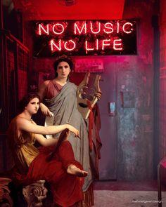 No Music, No Life, an art print by Mehmet Geren - Classic Art William Adolphe Bouguereau, Renaissance Kunst, Classical Art Memes, Art Jokes, Images Esthétiques, Photocollage, Wow Art, Weird Art, Funny Art