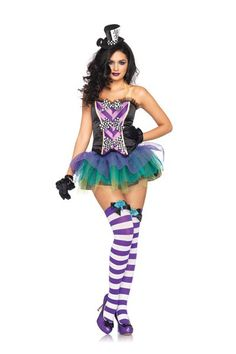 Black Purple 3 PC Tempting Mad Hatter Costume @ Amiclubwear costume Online Store,sexy costume,women's costume,christmas costumes,adult christmas costumes,santa claus costumes,fancy dress costumes,halloween costumes,halloween costume ideas,pirate costume,