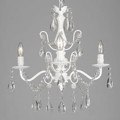 Wrought Iron and Crystal White 4-light Chandelier Pendant - Free Shipping Today - Overstock.com - 17435036 - Mobile