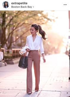 Beige slacks & silk white top