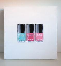 Chanel Nail Polishes - Original Acrylic Painting - Cocostyle Studio