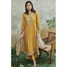 Mustard Embroidered Tunic Set - JAYANTI REDDY
