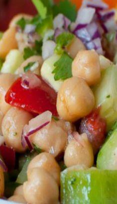 Chickpea Salad - healthy, gluten free salad packed with veggies and fiber!
